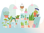 Flower shop with houseplants, woman seller in floral store, greenery collection in flat style, vector illustration