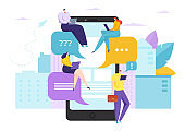 Chat with text in smartphone, online social media app vector illustration. Message bubble in phone, digital speech dialog.