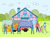 People moving to new house, happy family together buying real estate property, vector illustration