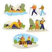 Man, women, children hiking travel outdoors on vector hike trekking illustration isolated on white.