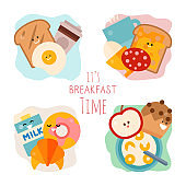 Breakfast set concept. Morning food with toasts, eggs, cornflakes and coffee. Meal for mornings are bread, croissant, fruits, milk and cheese
