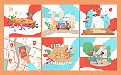 Pizza delivery vector illustration, cartoon flat fast food service, order online, cooking and express home delivery fastfood banner set