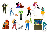 People pet owner vector illustration, cartoon flat happy woman man character have fun, playing with own animal, love pet isolated on white