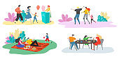 Family time vector illustration set, happy family characters spend time together, parents and child on picnic, dinner or in sport activity