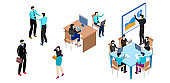 Business people work in office, set of isometric cartoon characters, vector illustration