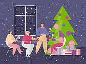 Christmas party vector illustration, cartoon happy flat friends people sitting at table for festive dinner on Christmas celebration