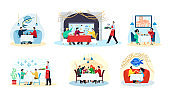 Fish restaurant and sea food, people eat meals at table, seafood dishes, party set of isolated flat vector illustrations.