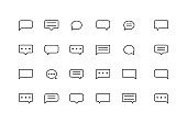 speech bubble icon set line style