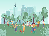 People in city park vector illustration, cartoon flat woman man characters have fun on picnic, walk or run in healthy sport activity