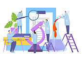 Analysis research in laboratory, vector illustration. Biology scientist character around large microscope, conduct experiment.