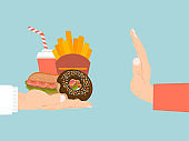 No fast food sign, propaganda banner, hand rejection from junk food isolated on blue, flat vector illustration. Healthy foodstuff activist.