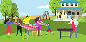 Happy family on barbecue party picnic at home backyard, people grill summer cookout, vector illustration