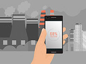 Air pollution level, dust danger in smartphone application vecto