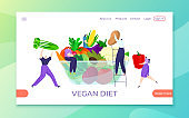 Healthy vegan diet with organic food, vector illustration. Eco vegetarian person and cartoon nutrition with vegetable. Fresh