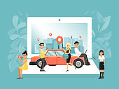 Online service car sharing, businesswoman and businessman order vehicle personal use concept flat vector illustration. Tiny character booking auto.