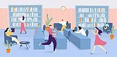 Library interior with books and people read literature, man holding pile of books vector flat illustration education, studying and reading.