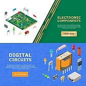 Electronic components vector illustration with digital circuit. Banner template for website about electronics. Electrical chip elements.