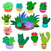 Cute cartoon cactus and succulents set on hand drawn nature plants cacti vector illustration isolated on white.