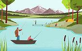 Fishermen on lake in beautiful nature landscape, people fishing hobby leisure, vector illustration