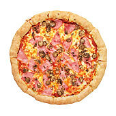Pizza top view isolated
