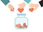 Donate jar with hearts concept. Charity and donations vector ill