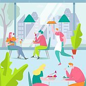 People eat food in cafe vector illustration, cartoon flat adult man woman friend characters sitting at table together and eating