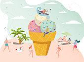 Summer time ice cream concept, tiny people enjoy vacation on seaside beach, vector illustration