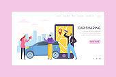 Car sharing mobile app service, vector illustration. Online order and map on smartphone, people character rent transport online.