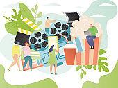 Cinema concept, tiny people cartoon characters, movie media industry symbols, vector illustration
