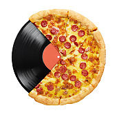 Pizza and LP vinyl record isolated on white background.