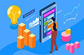 Online question decision, tiny woman stand interact modern smartphone and mobile phone isolated on blue, isometric 3d vector illustration.