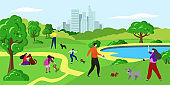 People with pet dog in park vector illustration, cartoon flat happy woman man pet owner characters walk, play with dog together