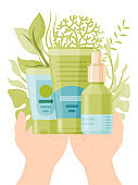Person hand hold eco friendly organic cosmetic isolated on white, flat vector illustration. Health care cream structure, body skin maintenance.