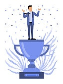 Winner on top of his trophy vector illustration.Business man sta