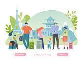 Group of tourists on sightseeing trip, happy family and couple with suitcase, people cartoon characters, vector illustration