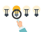 Businessman choosing idea bulb vector illustration. Business success choice right ideas. Man hand with magnifier chooses bright ligt bulb