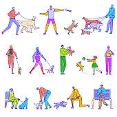 People walking with pet on character line art vector animal illustration isolated on white. Man, women running, hold on hands, palming dog, cat, throw sticks, balls.