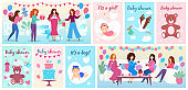 Baby shower celebration, vector illustration for newborn baby birthday party, it is a boy, it is a girl invitations and greeting cards.