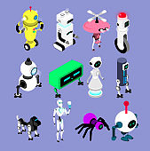 Robots set in isometric style. Robot and android collection Isolated vector Illustrations.