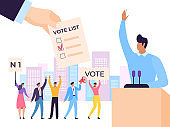 Election candidate political leader speaker speech, vector illustration. People at politician public debate for vote campaign.