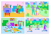 Happy family spend time together, people leisure at home and outdoor, parents and children vector illustration