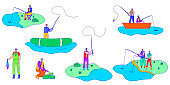 People fishing, set of isolated cartoon characters in flat style