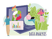 Data analysis marketing concept vector illustration, flat tiny cartoon people make digital analytics, business research isolated on white