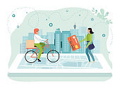 Online delivery app concept vector illustration, flat man bicycle courier character delivering box to tiny cartoon woman isolated on white