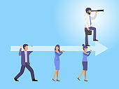Business team holding arrow with leader vector llustration. Business people hold big arrow with leading person.