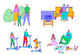 Family time vector illustration set, line happy family characters spend time together, father mother and child watch tv, walk or play games