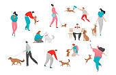 People pet dog owner vector illustration, cartoon flat happy woman man character play together, walk with puppy isolated on white