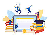 Education for student in online school technology, vector illustration. People character study book in computer university concept