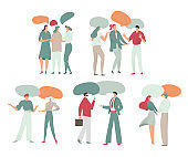 People talk, dialogue, chats, vector illustration with characters and empty speech bubbles isolated on white for business chats, social networks, flat style.