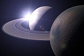 Planet Saturn and Titan